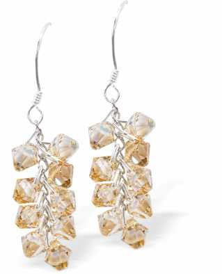 Austrian Crystal Elegant Drop Earrings in Warm Golden Shadow  Bicon Multi-faceted Crystal Design for Sparkle and Glitz.