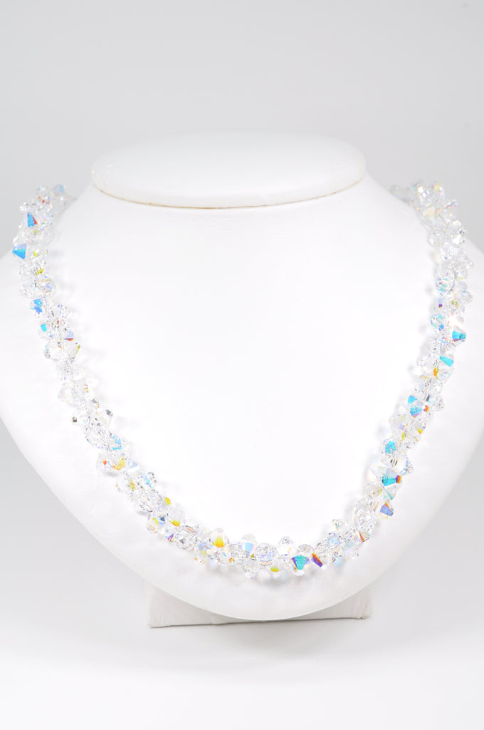 Elegant Austrian Crystal  Necklace in Ever Changing Aurora Borealis Crystal for Sparkle and Glitz