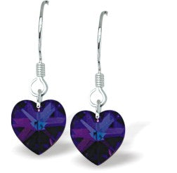 Swarovski Crystal Heart Drop Earrings in Exotic Heliotrope