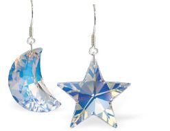 Swarovski Crystal Star and Moon Drop Earrings in Reflective Aurora Borealis