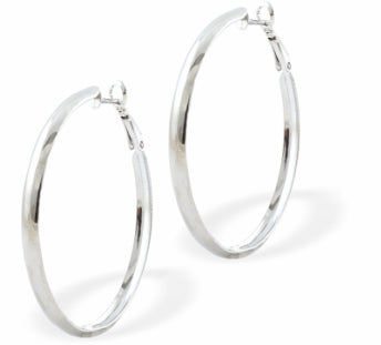 Curved Round Hoop Earrings, Silver Coloured