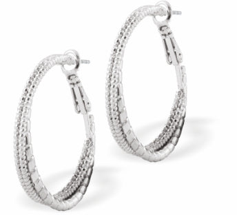 Double Round Hoop Earrings, Silver Coloured