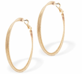Circular Hoop Earrings, Rhodium Plated, Gold Coloured