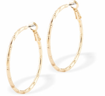 Round Ribbon Hoop Earrings, Gold Coloured