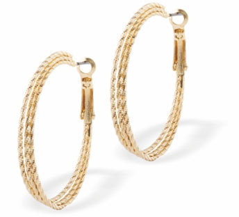 Round Sparkle Twist Hoop Earrings, Gold Coloured