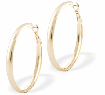 Curved Round Hoop Earrings, Gold Coloured