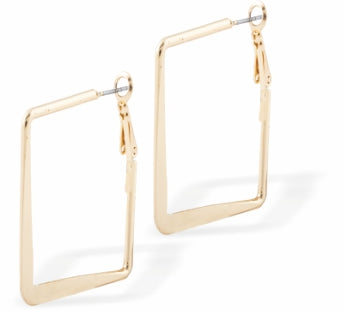 Square Hoop Earrings, Gold Coloured