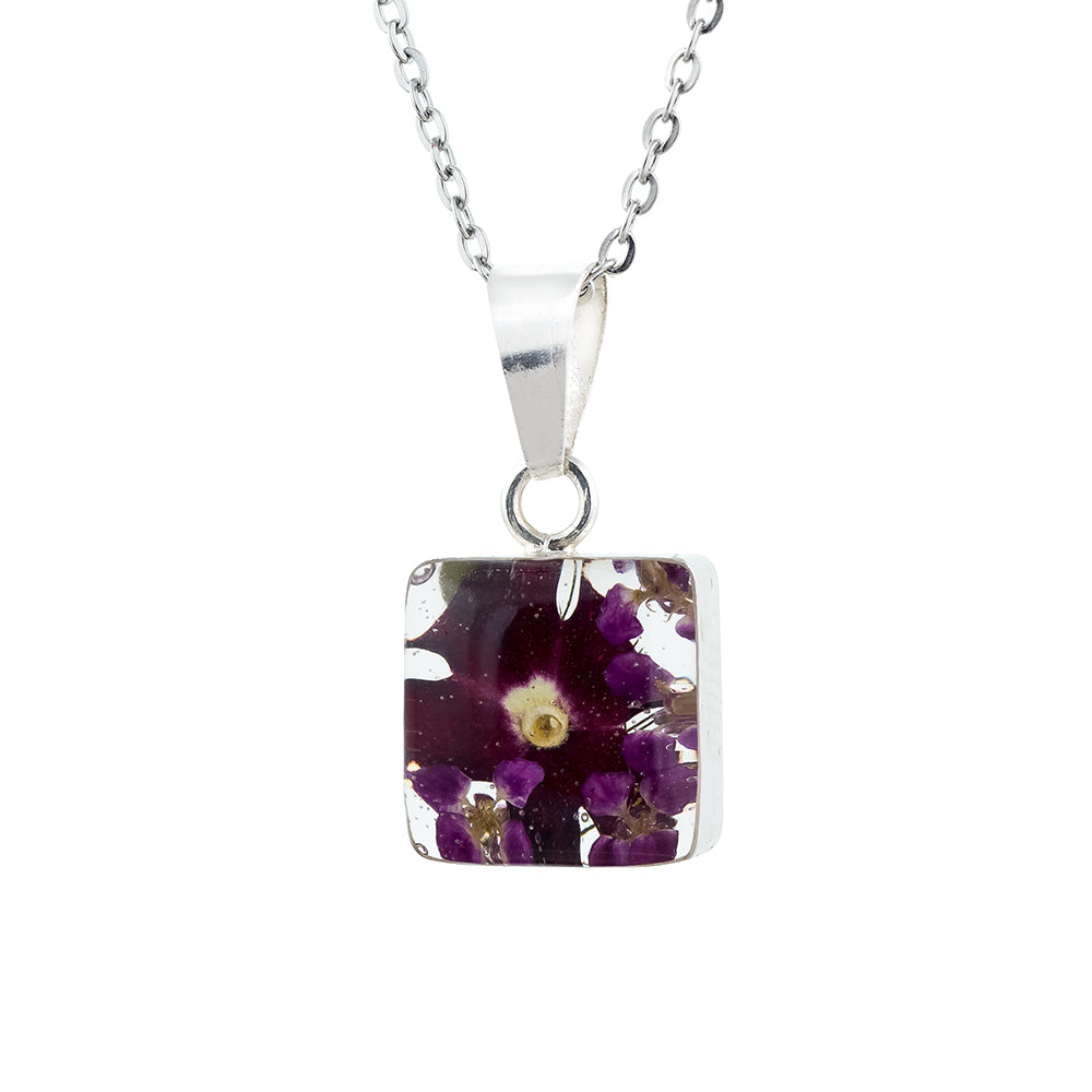 Real Mixed Purply Flowers in  Square Necklace encased in Sterling Silver