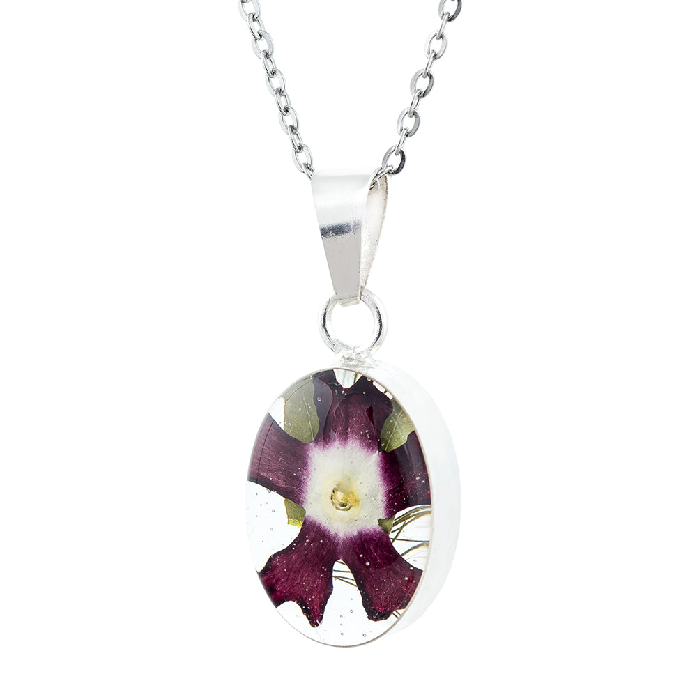 Real Purply Primrose Flowers in Oval Necklace encased in Sterling Silver