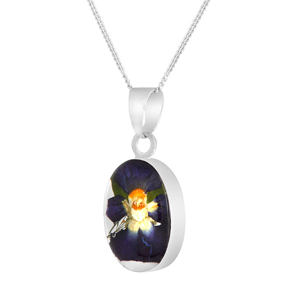 Real Flower Oval Purple Pansy Necklace