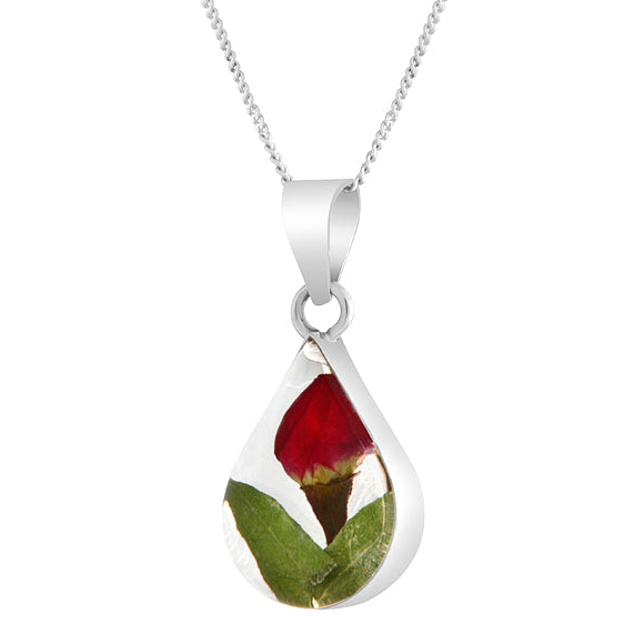 Real Flower Teardrop Rosebud Necklace