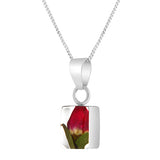 Rectangular Real Flower Single Rosebud Necklace, Small
