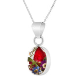 Oval Real Flower Rosebud Mix Necklace, Small