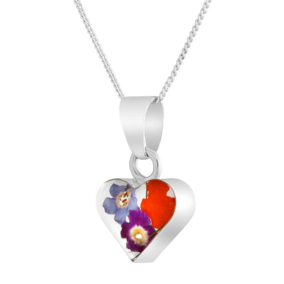Heart Real Flower Mixed Bouquet Necklace, Small
