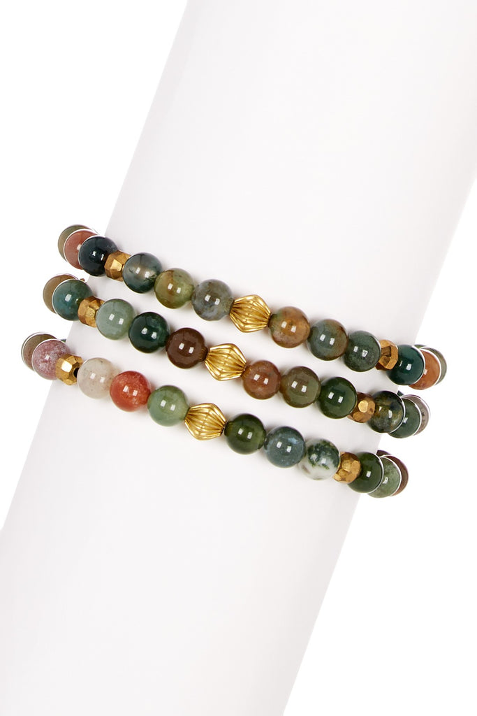 Three beaded stretch bracelets