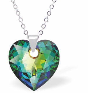 Crystal Multi Faceted Heart Necklace in Ever Changing Vitrail Medium