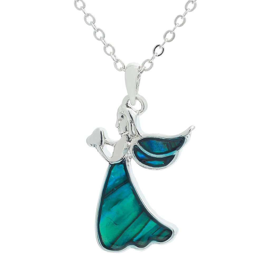 Paua Shell Angelic Angel Necklace