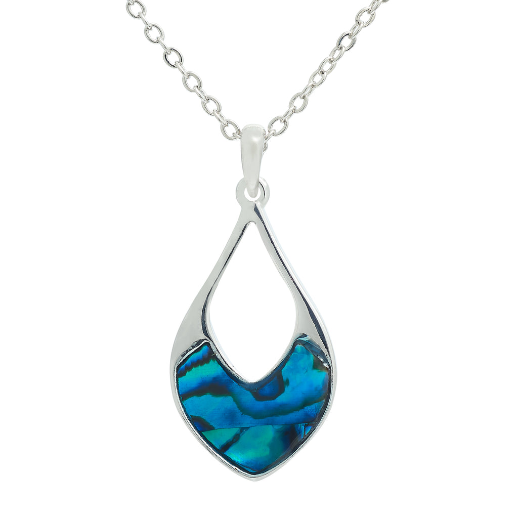 Paua Shell Hollow Drop Necklace