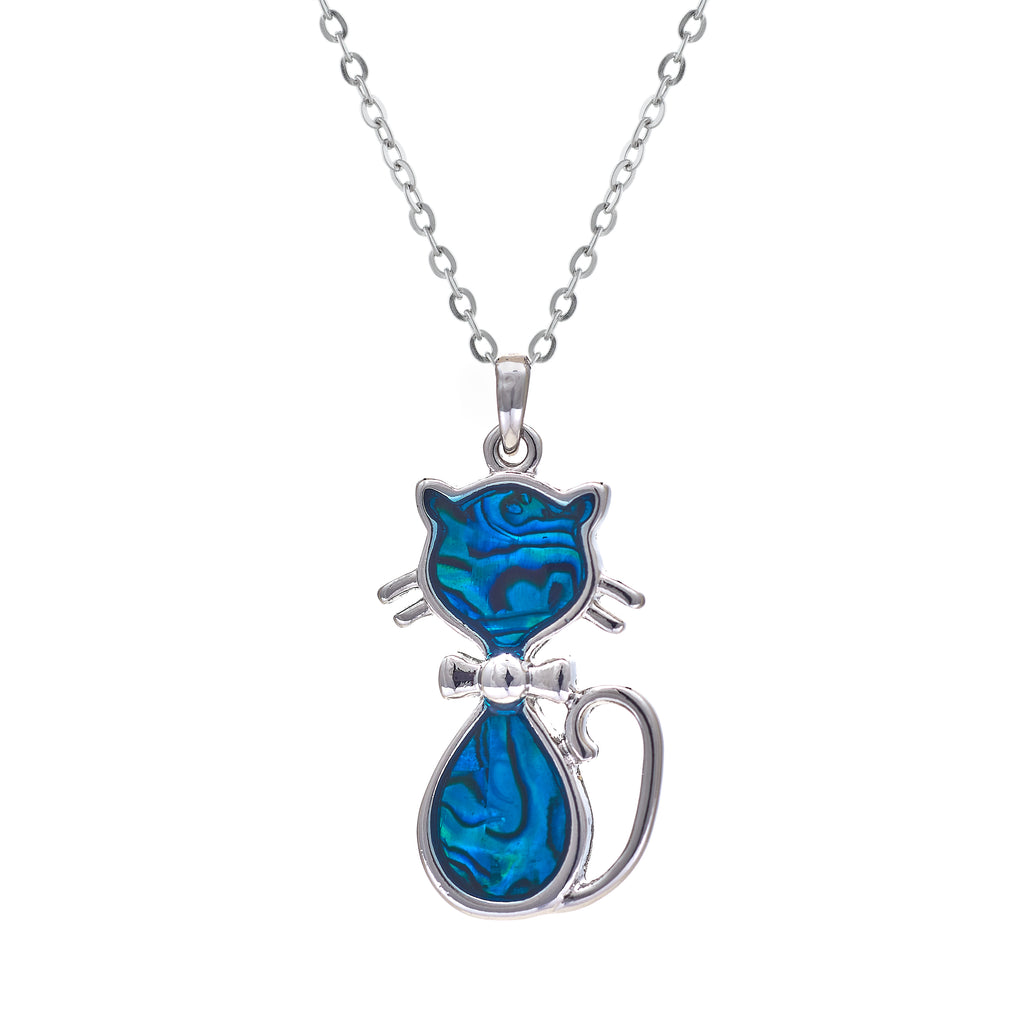 Paua Shell Kitty Cat Necklace