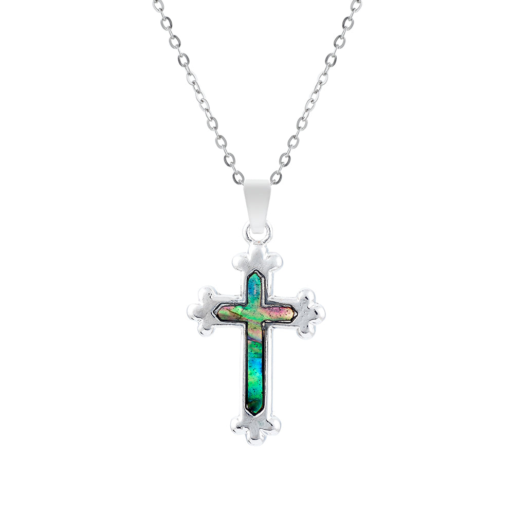 Paua Shell Cross Necklace