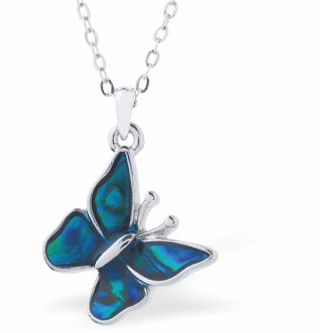 Byzantium Collection Paua Shell Delicate Butterfly Necklace, 18mm in size