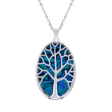 Paua Shell Tree of Life Oval Necklace