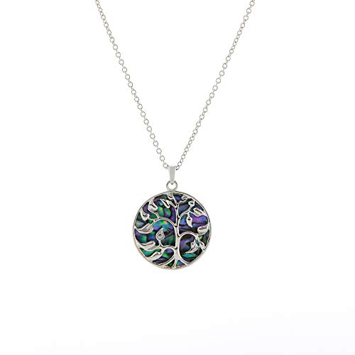 Natural Paua Shell Tree of Life Necklace