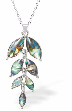 Paua Shell Willow Leaf Drop Necklace