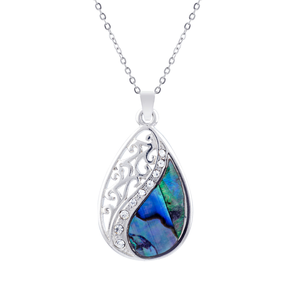 Paua Shell Laced Teardrop Necklace