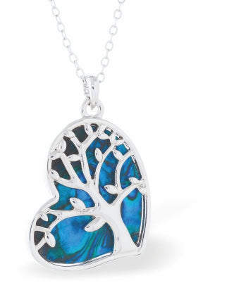 "Byzantium Collection Paua Shell Beautiful Tree of Life encased in a ""Truly in Love"" Heart Necklace, 30mm in size"