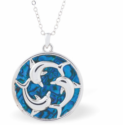 Byzantium Collection Paua Shell Encircled Dolphins Playing Necklace, 28mm in size