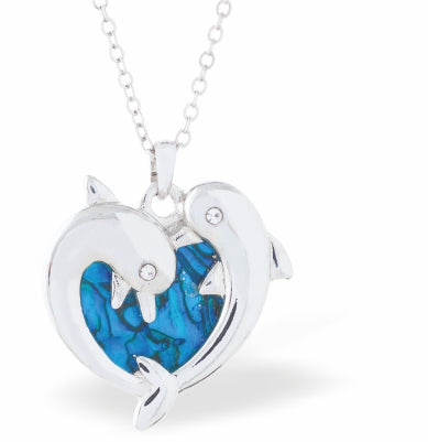 Byzantium Collection Paua Shell Dolphins in Love Necklace, 25mm in size