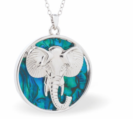 Byzantium Collection Paua Shell African Elephant Necklace, 30mm in size