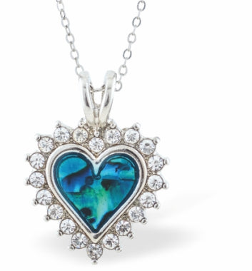 Byzantium Collection Paua Shell Beautiful Crystal Embellished Heart Necklace, 20mm in size
