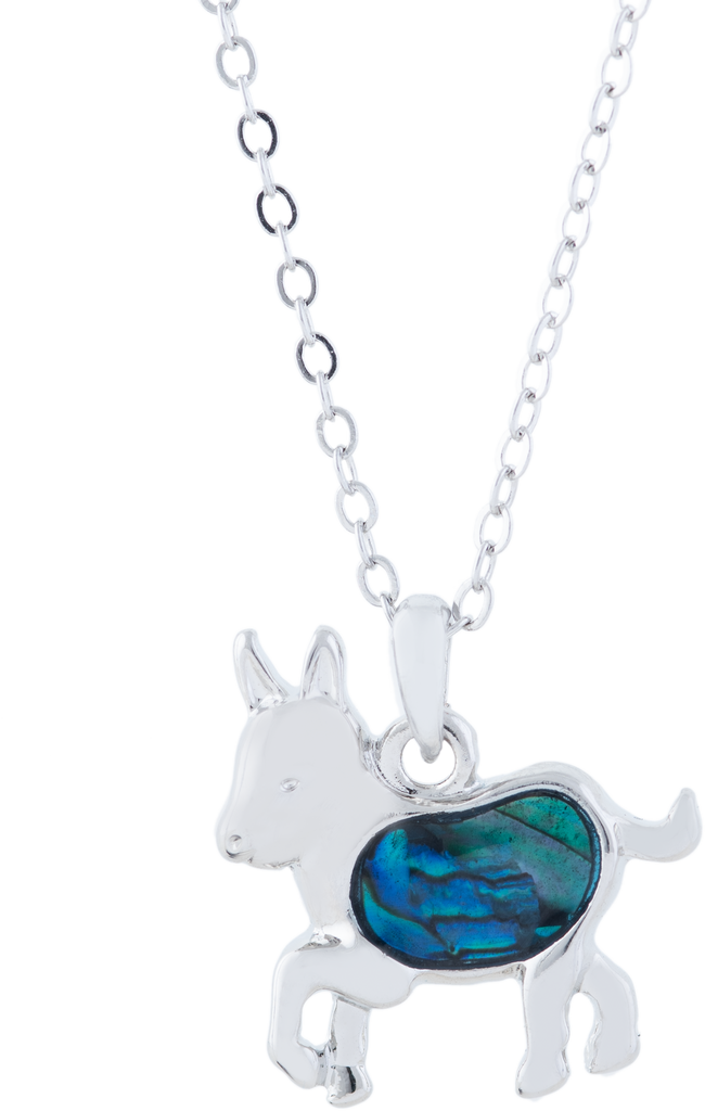 Paua Shell Cute Donkey Necklace, Rhodium Plated