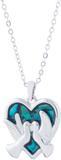 Paua Shell Heart Framed Love Birds Necklace, Rhodium Plated