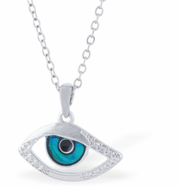 Byzantium Collection Paua Shell Beautiful Evil Eye Necklace, 20mm in size