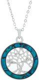 Paua Shell Encased Tree of Life Round Necklace, Rhodium Plated