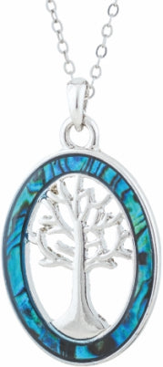 Byzantium Collection Paua Shell Oval Framed Tree of Life Necklace, 25mm in size