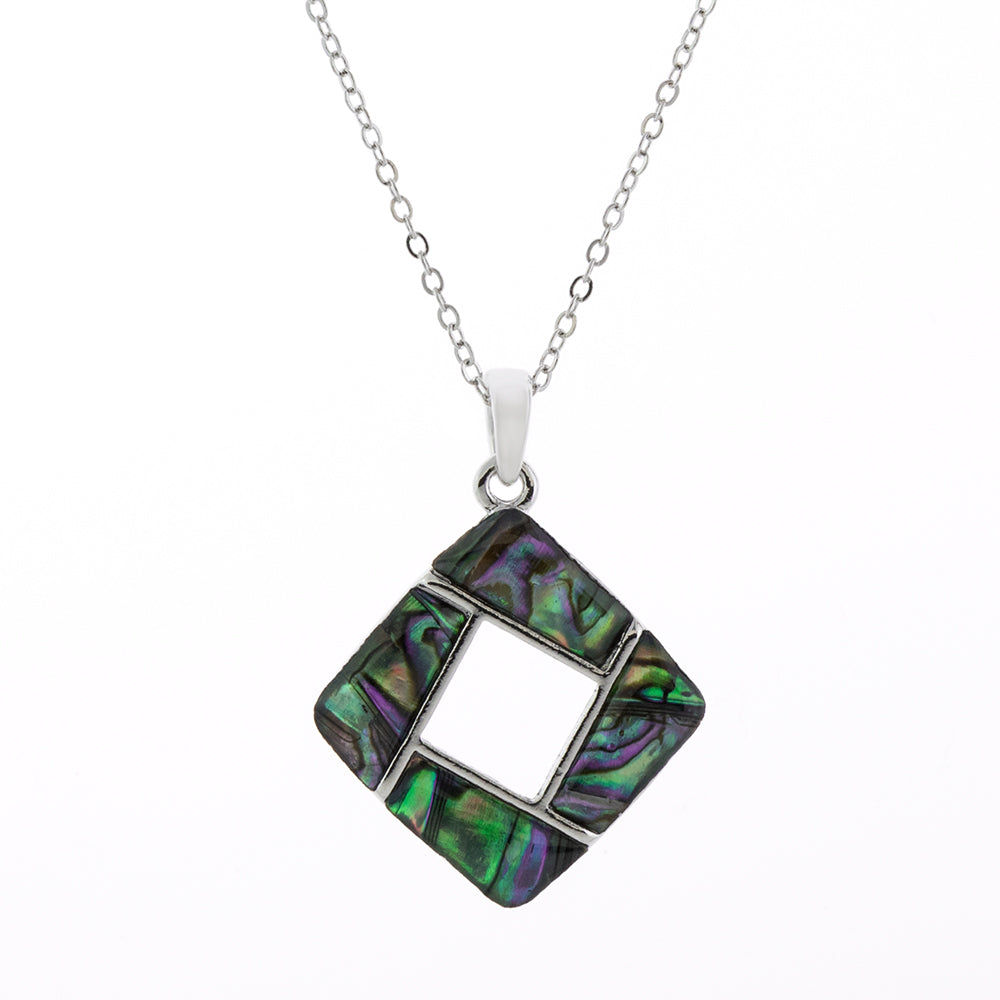 Paua Shell Hollow Square Necklace