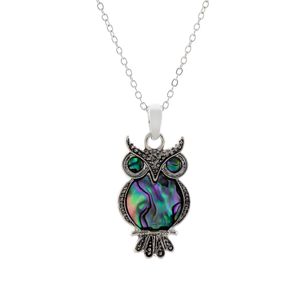 Paua Shell Owl Necklace