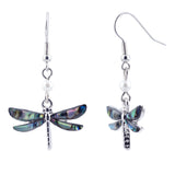Paua Shell Dragonfly with Pearl Drop Earrings