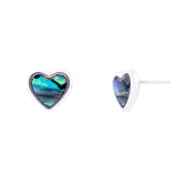 Paua Shell Heart Stud Earrings