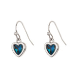 Paua Shell Heart Drop Earrings