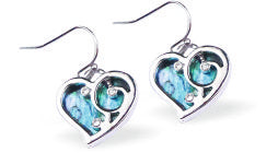 Paua Shell Cute Heart Drop Earrings