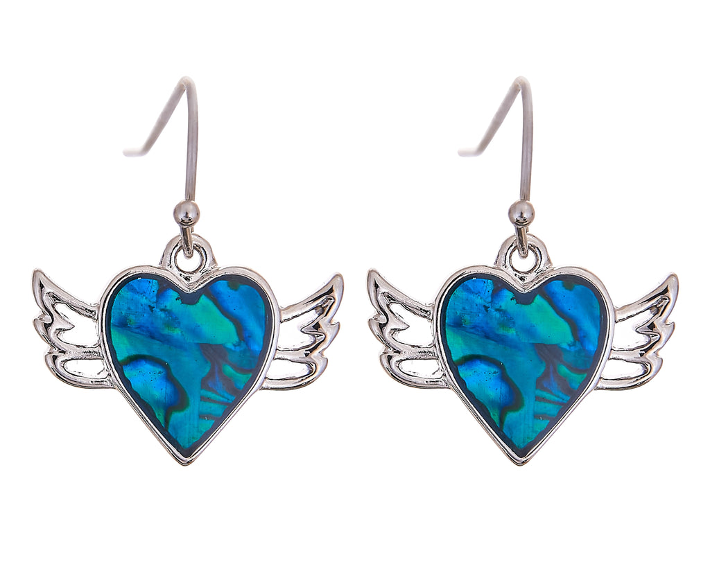 Paua Shell Winged Heart Drop Earrings