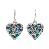 Paua Shell Tree of Life Wild Heart Drop Earrings