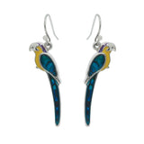 Paua Shell Parrot Drop Earrings