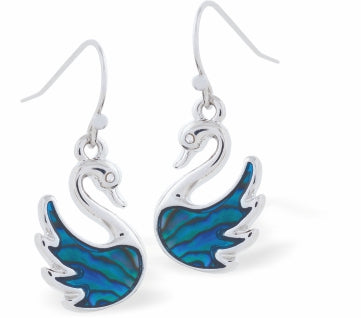 Byzantium Collection Paua Shell Tundra Swan Drop Earrings, 12mm in size