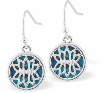 Paua Shell Encircled Lotus Blossom Drop Earrings, 12mm in size, Rhodium Plated